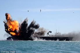 Maniobras del reciente simulacro iraní contra supuestas fuerzas estadounidenses.