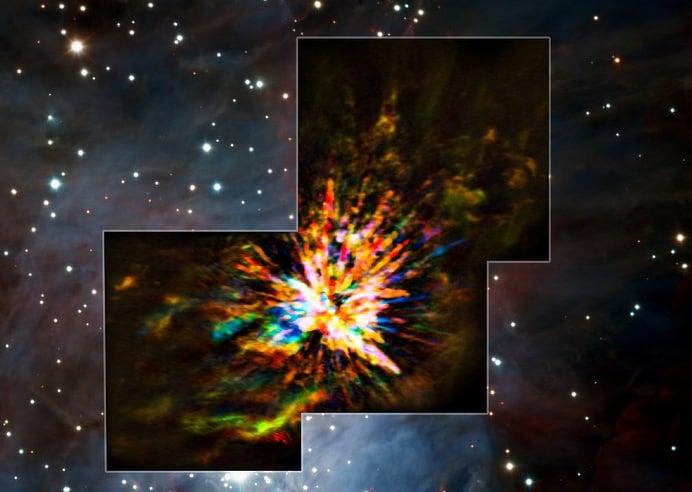 Imagen del nacimiento observado por el telescopio ALMA