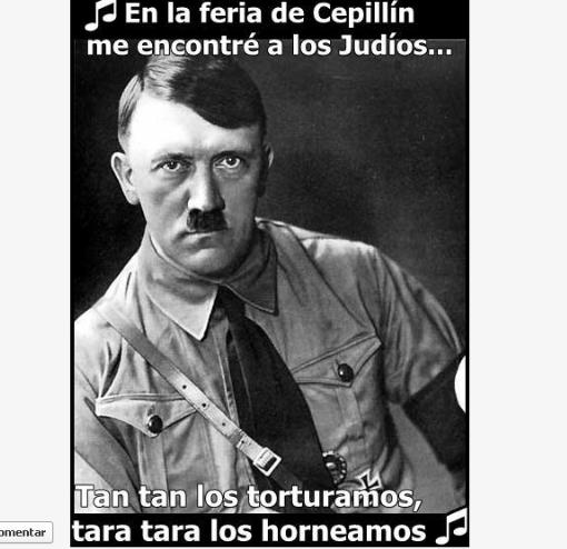 """YO DENUNCIO: """"Los judíos…Tan tan los torturamos, tara tara los horneamos"""" en Facebook"""