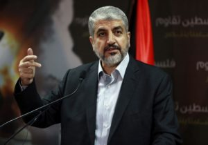 Hamas leader Khaled Meshaal talks during a news conference in Doha July 23, 2014. Meshaal said he was ready to accept a humanitarian truce in Gaza where the Islamist group is fighting an Israeli military offensive, but would not agree to a full ceasefire until the terms had been negotiated. REUTERS/Stringer (QATAR - Tags: POLITICS CIVIL UNREST CONFLICT)