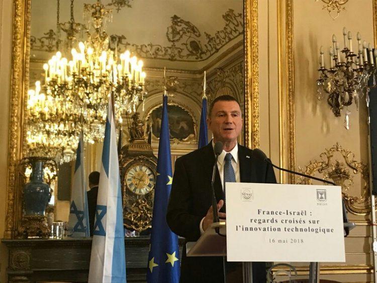 """Edelstein al Senado francés: """"Si la bandera francesa se iza en la capital de Israel, será fiel al derecho de la justicia histórica"""""""