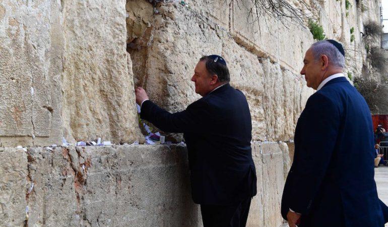 Pompeo va con Netanyahu al Muro de los Lamentos, la primera visita de un alto funcionario de EE.UU. junto a uno de Israel