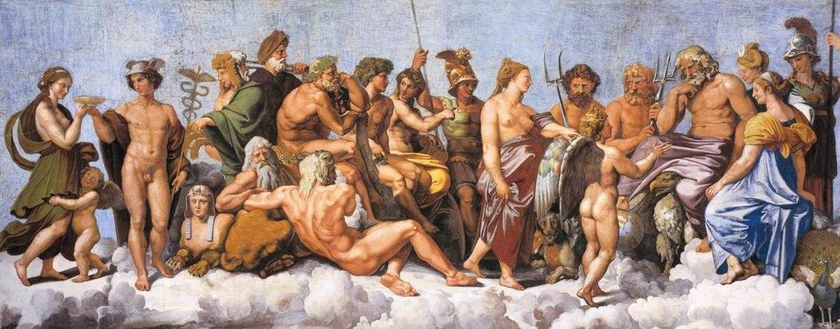 Retrato de los dioses griegos del Olimpo